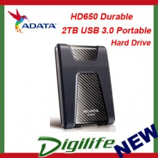 ADATA HD650 Durable 2TB USB3.0 Portable Hard Drive Black Shock Protection