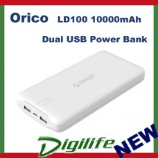 Orico White LD100 10000mAh Dual USB Power Bank 5V 2.4A