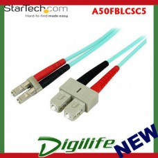 Startech Fiber Optic Cable 10 Gb Aqua Multimode Duplex 50/125 LSZH - LC/SC 5m