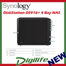 Synology DiskStation DS916+ 4 Bay Diskless NAS Quad Core 1.6GHz 2GB RAM