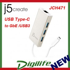 j5create JCH471 USB Type-C to GigaLAN & USB 3.0 Hub Adapter