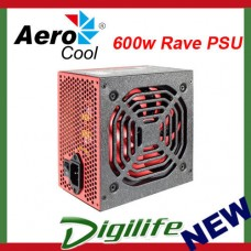 Aerocool 600w Rave ATX Power Supply PSU for PC [80 Plus]