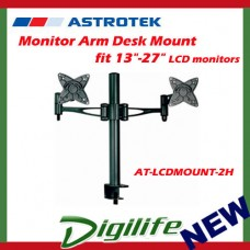 "Astrotek Dual Monitor Arm fit 13""-27"" LCD screens, VESA compliant, 15kg each"