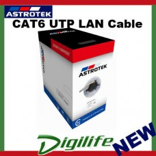 Astrotek CAT6 UTP Cable 305m Roll Grey White Full 0.55mm Copper Solid Wire 23AW