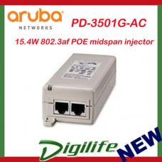 ARUBA 15.4W 802.3af POE midspan injector, 10/100/1000Base-T Ethernet PD-3501G-AC