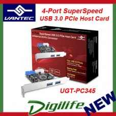 Vantec 4-Port SuperSpeed USB 3.0 PCIe Host Card w/ Internal 20-Pin UGT-PC345