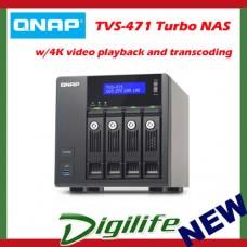QNAP TVS-471-I3-4G, NAS, 4BAY(NO DISK), 4GB, i3-4150, USB,GbE(4), 2YR WTR