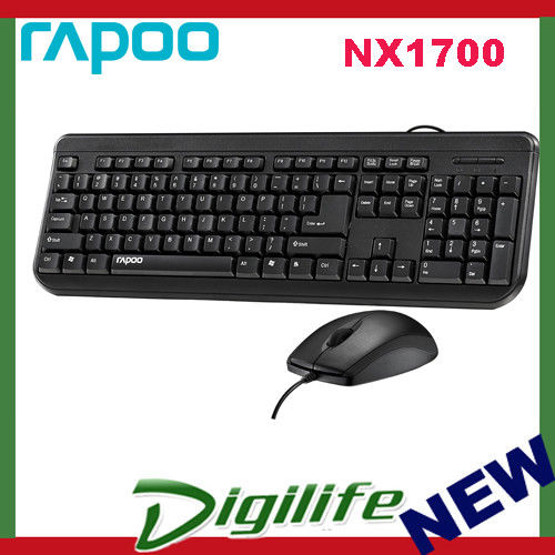 Rapoo Nx1700 Wired Keyboard Optical Mouse Combo Black