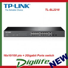 TP-Link SL2218 Smart Switch 16x10/100 pts + 2Gigabit Ports - TL-SL2218