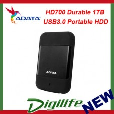 ADATA HD700 Rugged 1TB USB3.0 Portable HDD Black; G Shock Sensor