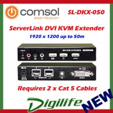 ServerLink DVI KVM Extender over Cat 5-DVI,USB 2.0,Audio & Mic 50m SL-DKX-050