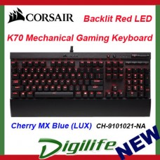 Corsair Gaming K70 LUX Red Backlit Mechanical Keyboard Cherry MX Blue