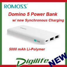 ROMOSS Domino 5 Power Bank - 5000 mAh Li-Polymer, Synchronous Charging