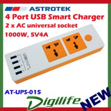 Astrotek 4 Port USB Smart Charger w/2 AC socket,1000W, 5V4A orange side silicon