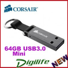 Corsair 64GB Mini USB 3.0 Flash Voyager Drive with a rubber strap and metal loop