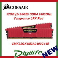Corsair Vengeance LPX 32GB (2x 16GB) DDR4 2400MHz Memory RED C14