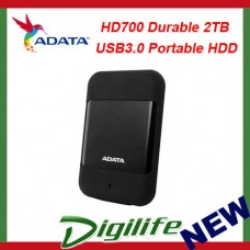 ADATA HD700 Durable 2TB USB3.0 Portable HDD Black; G Shock Sensor