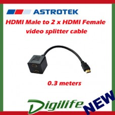 Astrotek HDMI Male to 2 x HDMI Female video splitter cable, 0.3m