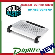 Cooler Master Notepal U2 Plus Silver Movable Fan Aluminium Cooling Pad 17""