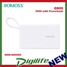 ROMOSS QS05 Power Bank 5000 mAh Li-Polymer built-in cable Synchronous Charging