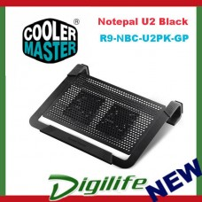 Cooler Master Notepal U2 Plus Black Movable Fan Aluminium Cooling Pad 17""