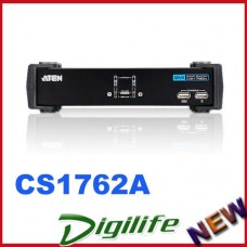 Aten 2 Port USB DVI KVMP Switch w/ USB 2.0 Hub & Audio -Cables Included CS-1762A