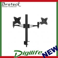 Brateck Dual Monitor Mount w/Arm & Desk Clamp Black VESA 75/100mm Up to 27''