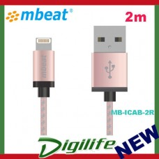 mbeat MFI Certified 2m Aluminium & Nylon Braided Lightning™ Cable - Rose Gold