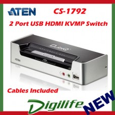 Aten 2 Port USB HDMI KVMP Switch w/DOLBY Audio, USB Hub-Cables Included CS-1792