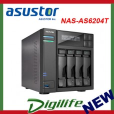 ASUSTOR AS6204T 4-Bay NAS, Quad-Core, 4GB DDR3L, GbE, USB 3.0, eSATA, HDMI WoL,