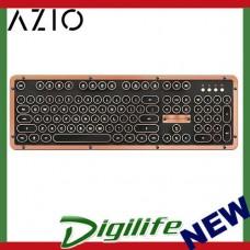 Azio MK Retro Classic Bluetooth Keyboard - Copper Alloy Trim & Black Leather