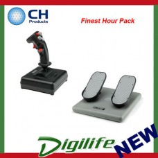 "CH Products ""Finest Hour Pack"" For PC & Mac (Inc USB Combatstick + Pro Pedals)"