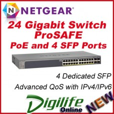 Netgear GS728TP-100AJS ProSAFE 24 port Gigabit Smart Switch with PoE, 4 SFP Port