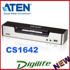 ATEN 2 Port USB2.0 Dual-View DVI KVMP Switch w/2.1 Audio CS-1642 Cables incl