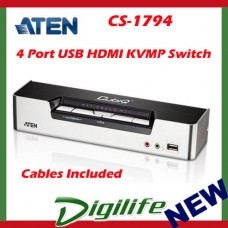 Aten 4 Port USB HDMI KVMP Switch w/DOLBY Audio, USB Hub-Cables Included CS-1794