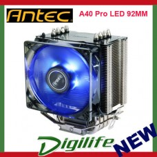 Antec A40 Pro Blue LED 92MM CPU Cooler Heatsink Fan Intel 1151 AMD Ryzen AM4