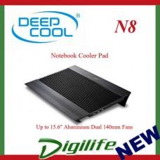 "Deepcool N8 Notebook Cooler Pad Up to 15.6"" Aluminium Dual 140mm Fans Black"