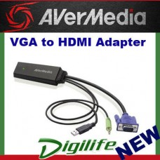 AVerMedia ET110 VGA to HDMI Output, Full HD 1080p 60fps / UXGA@60 Cable Adapter