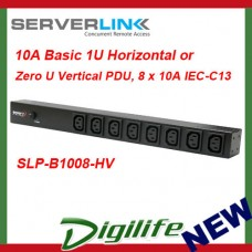 ServerLink 10A Basic 1U Horizontal or Zero U Vertical PDU 8 x 10A IEC-C13 Socket