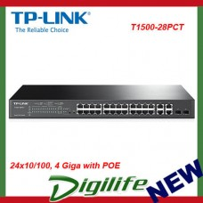 TP-Link 24+4 Switch 24x10/100, 4 Giga with POE - T1500-28PCT
