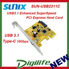 Sunix USB2311C USB3.1 Enhanced SuperSpeed PCI Express Host Card USB Type C