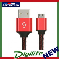 Astrotek 2m Micro USB Data Sync Charger Cable Cord Red Color for Samsung HTC