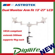 "Astrotek Dual Monitor Arm fit 13""-27"" LCD screens, VESA compliant, 9kg each"