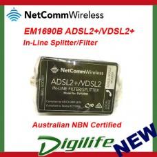 NetComm EM1690B VDSL/ADSL2+ In-Line Splitter/Filter - Australian NBN Certified