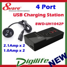 8ware 4 Port USB Power Charging Station with 2.1Amp x2 and 1.0Amp x2