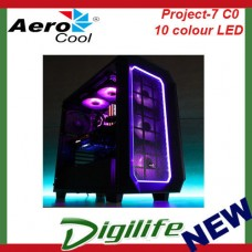 Aerocool P7-C0 Black Case Tempered Glass 10 Color LED Gaming Mid Tower Quiet ATX