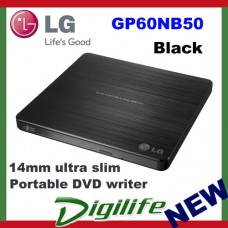 LG 8X SUPER-MULTI ULTR SLIM PORTABLE USB EXTERNAL DVD REWRITER BURNER GP60NB50