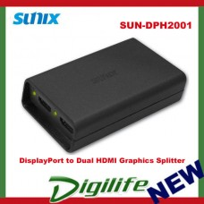 Sunix DisplayPort to 2 HDMI Graphics Splitter Connect 1 DP Output to 2 HDMI LCDs