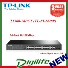 24-Port 10/100Mbps + 4-Port Gigabit Smart PoE+ Switch   T1500-28PCT (TL-SL2428P)
