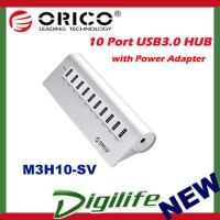 Orico 10 Port M3H10 SuperSpeed USB3.0 HUB Aluminium with Power Adaptor DC12V 3A